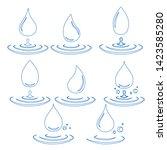 abstract set of blue water drop ... | Shutterstock .eps vector #1423585280