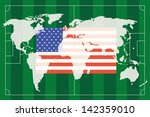 the america flag and soccer... | Shutterstock .eps vector #142359010