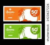green and orange banner design. ... | Shutterstock .eps vector #1423627226