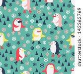 cute penguin seamless pattern   Shutterstock .eps vector #142362769