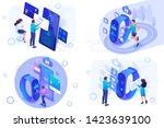 set isometric mobile... | Shutterstock .eps vector #1423639100