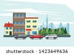 urban buildings with cars... | Shutterstock .eps vector #1423649636