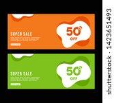 green and orange banner design. ... | Shutterstock .eps vector #1423651493