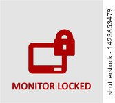 filled monitor locked icon.... | Shutterstock .eps vector #1423653479