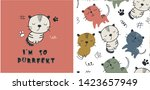 set of cute cat print and...   Shutterstock .eps vector #1423657949