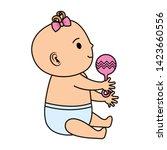 cute little baby girl with bell ... | Shutterstock .eps vector #1423660556