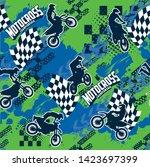 motocross background pattern...   Shutterstock .eps vector #1423697399