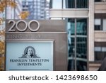 Small photo of TORONTO, CANADA - NOVEMBER 14, 2018: Franklin Templeton investments logo in front of their local headquarters in Toronto, Ontario. It is an investments American Holding Company