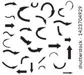 vector set of 30 black arrows...   Shutterstock .eps vector #1423704929