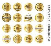 retro label set with gold... | Shutterstock .eps vector #142371598