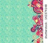 ornate card flower background | Shutterstock .eps vector #142374148
