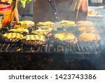 Hamburger Being Grilled Over A...