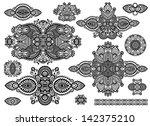 set of ornamental floral... | Shutterstock .eps vector #142375210