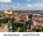 Golden weathercock on the top of Inner City Reformed Church, Miskolc, Hungary
