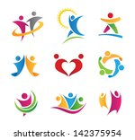 colorful social logo of people... | Shutterstock .eps vector #142375954