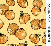 fresh onions background. hand... | Shutterstock .eps vector #1423786400