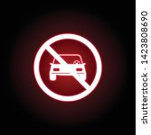 forbidden car icon in red neon...