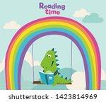 cute dinosaur reads a book on...   Shutterstock .eps vector #1423814969