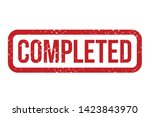 completed rubber stamp. red... | Shutterstock .eps vector #1423843970