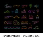 neon colors isolated on a black ... | Shutterstock .eps vector #1423853123