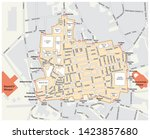 map of the grand bazaar in the... | Shutterstock . vector #1423857680