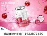 cherry flavor sparkling water...   Shutterstock .eps vector #1423871630