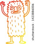 Stock vector warm gradient line drawing of a cartoon bigfoot creature 1423886006