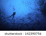 scuba diver silhouette in...   Shutterstock . vector #142390756