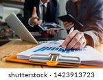 co working team meeting concept ... | Shutterstock . vector #1423913723