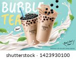 bubble milk tea ads with... | Shutterstock .eps vector #1423930100
