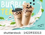 bubble milk tea ads with... | Shutterstock . vector #1423933313