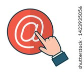 hand clicking send email button ... | Shutterstock .eps vector #1423935056