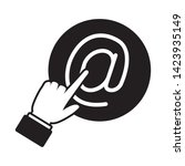 hand clicking send email button ... | Shutterstock .eps vector #1423935149