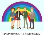 vector illustration of happy... | Shutterstock .eps vector #1423958339