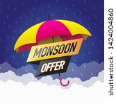 monsoon sale offer concept ... | Shutterstock .eps vector #1424004860