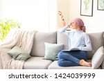 woman after chemotherapy... | Shutterstock . vector #1424039999