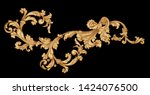 Antique style gold flowers, leaves.   Decorative elegant luxury design.golden elements in baroque, rococo style.seamless vintage pattern. - stock photo