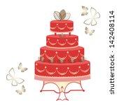 elegant tiered cake | Shutterstock .eps vector #142408114