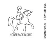 horseback riding icon in linear ... | Shutterstock .eps vector #1424081156