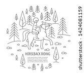 horseback riding banner in... | Shutterstock .eps vector #1424081159