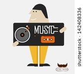 yong boy love music | Shutterstock .eps vector #142408336
