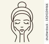 face massage line icon. woman ... | Shutterstock .eps vector #1424104466