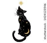 Hand Drawn Vector Black Cat On...