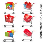 group of shopping carts full of ... | Shutterstock .eps vector #142415050