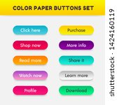 set of vector color button in...