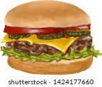 soft fresh hamburger pencil... | Shutterstock . vector #1424177660