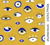 evil eyes. set of hand drawn... | Shutterstock .eps vector #1424179436