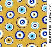 evil eyes. set of hand drawn...   Shutterstock .eps vector #1424179439