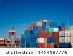 wide angle view of stacks of... | Shutterstock . vector #1424187776