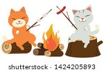Stock vector the group of cute cat cooking the marshmallow with fire camp the cat cooking the sausage with fire 1424205893
